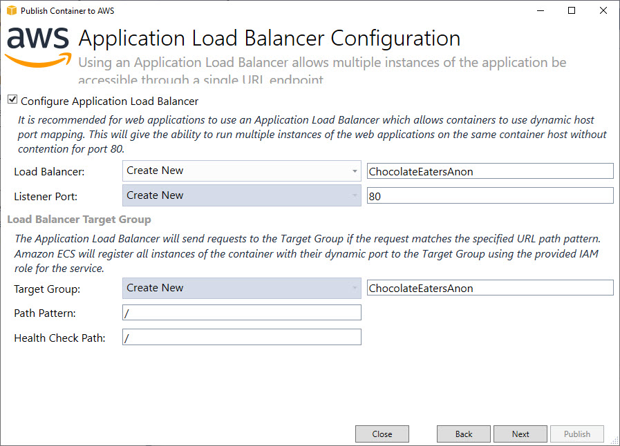 application load balancer configuration