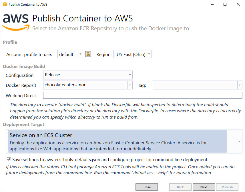publish container to was