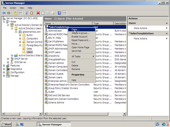 How to Create Users and User Templates in Windows Server