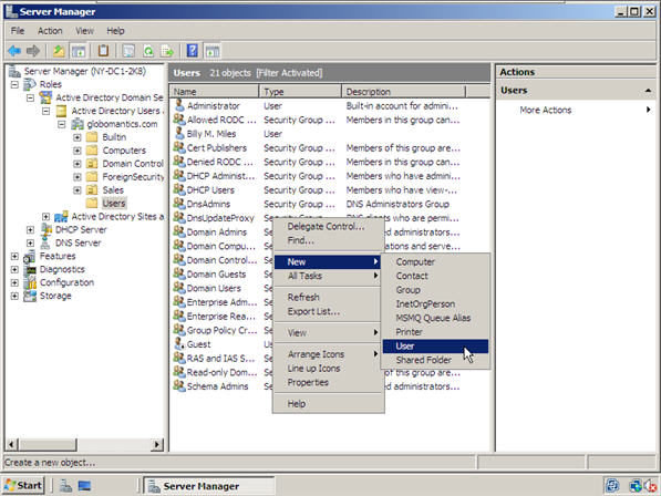 How to Create Users and User Templates in Windows Server 2008 Active ...