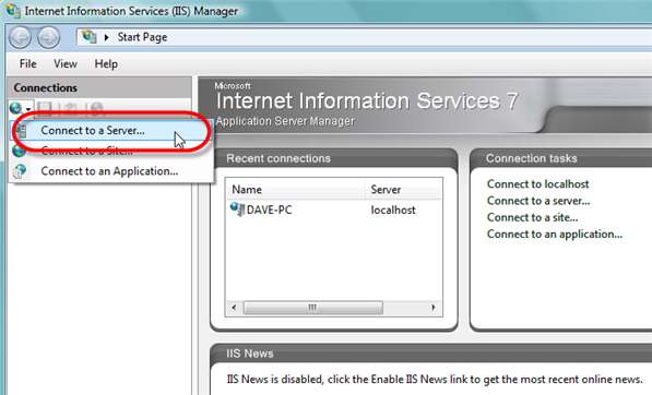 Remote Administration of IIS 7: Install, Configure, Connect - 16