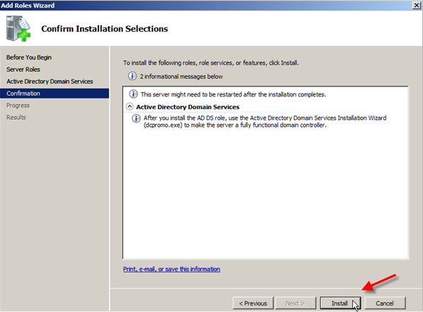 Windows Server 2008: Install Active Directory Domain Services - 5