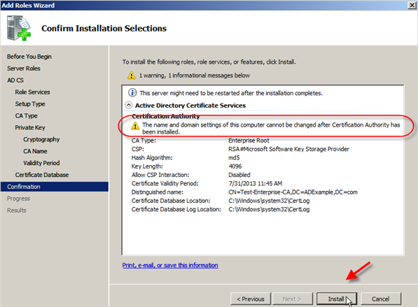 Server 2008: Install Active Directory Certificate Services - 12