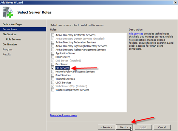 Server 2008: Installing Distributed File System (DFS) - 2