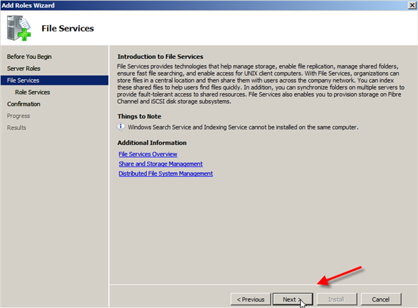 Server 2008: Installing Distributed File System (DFS) - 3