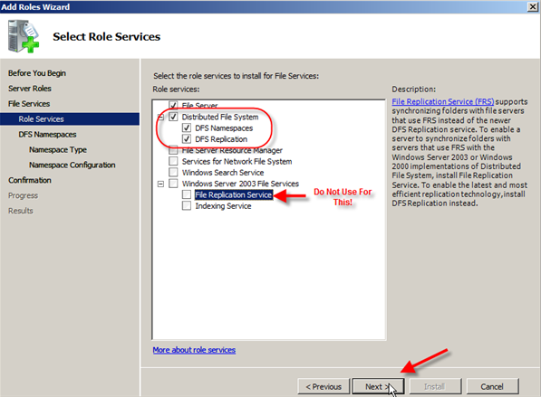 Server 2008: Installing Distributed File System (DFS) - 4