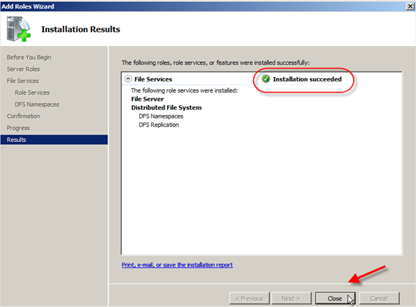 Server 2008: Installing Distributed File System (DFS) - 7