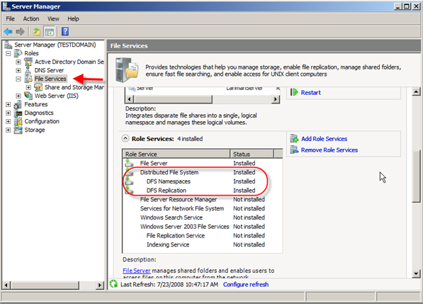 Server 2008: Installing Distributed File System (DFS) - 8