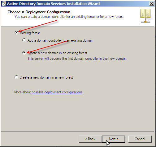 Server 2008 Active Directory: Adding a Child Domain