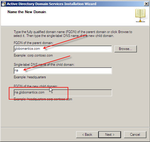 Server 2008 Active Directory: Adding a Child Domain - 14