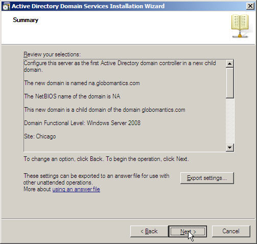 Server 2008 Active Directory: Adding a Child Domain - 19
