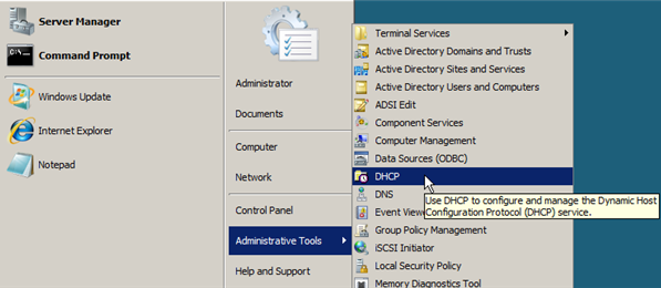 Configure DHCP on Windows Server 2008 - 1