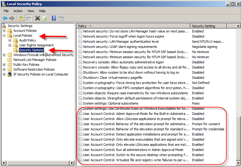 Disable UAC (User Account Control) on Vista and Server 2008