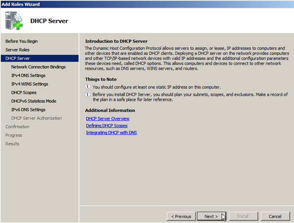 Install DHCP Role on Windows Server 2008 - 4