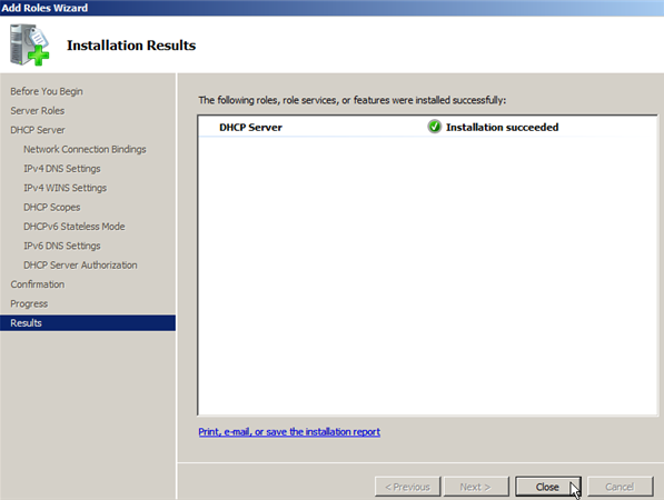 Install DHCP Role on Windows Server 2008 - 13