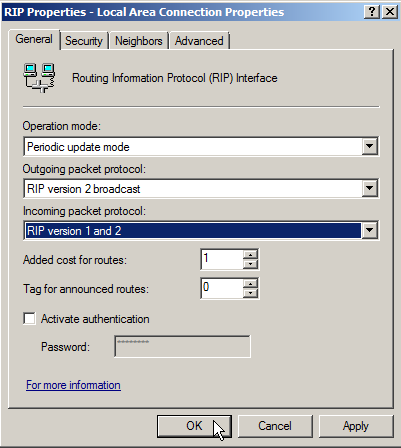 Windows Server 2008 as a LAN Router Running RIP - 20
