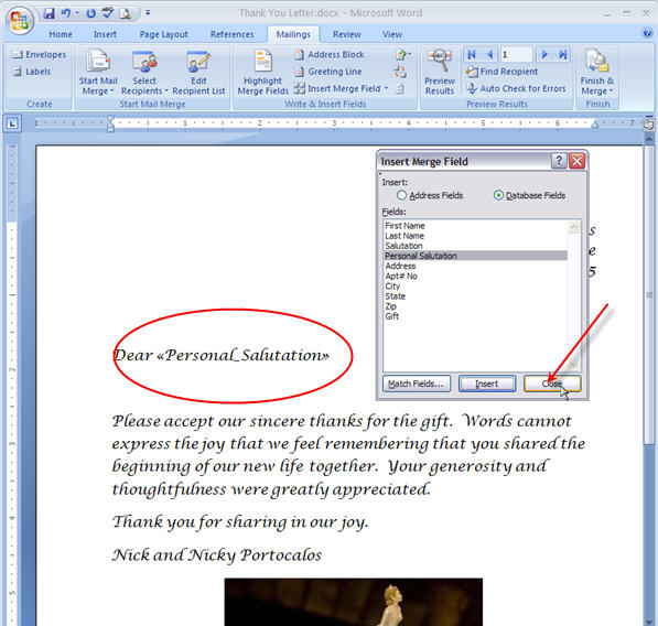 Merging for Dummies: Creating Mail Merge Letters in Word 2007 - 19