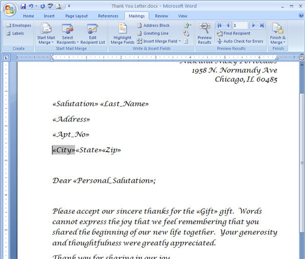 Merging for Dummies: Creating Mail Merge Letters in Word 2007 - 33