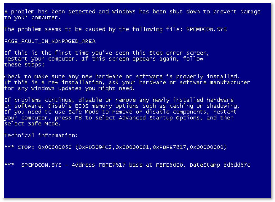 A typical BSoD
