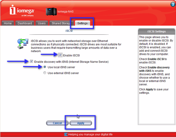 Enabling iSCSI in Iomega StorCenter