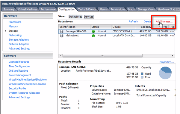 Add storage to ESX datastores