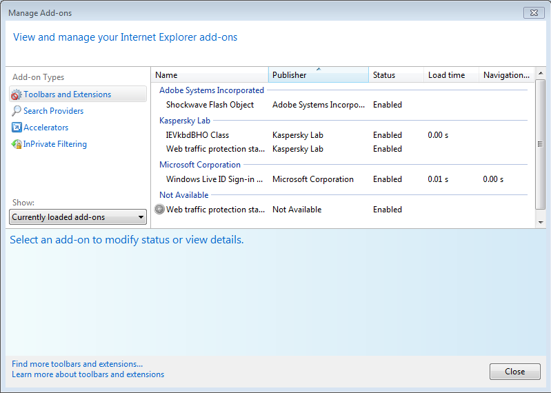 Internet Explorer 9 Add-On Performance Advisor