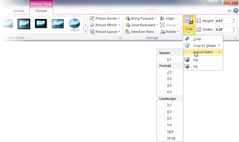 Improved Picture Crop in PowerPoint 2010