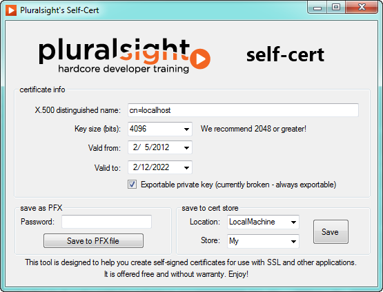 SelfCert: Create a Self-Signed Certificate Interactively