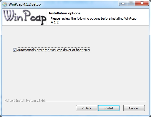 WinPcap Driver on Startup