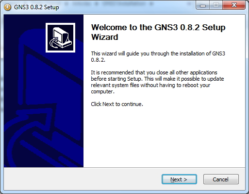 GNS3 Installer Setup Wizard Screen