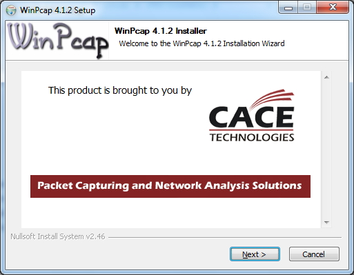 WinPcap Installer Screen
