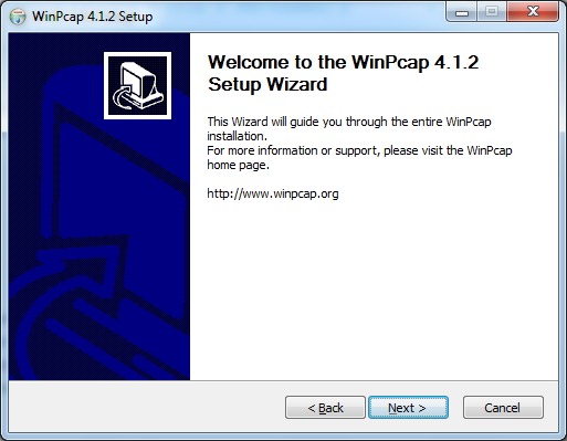 WinPcap Installer Setup Wizard Screen