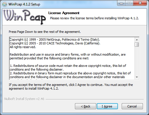 WinPcap License Screen