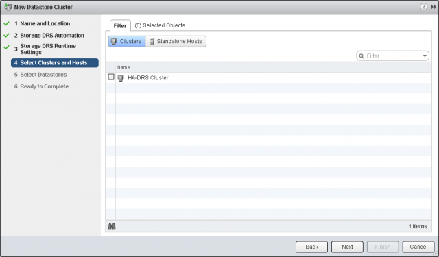 Select Clusters and Hosts