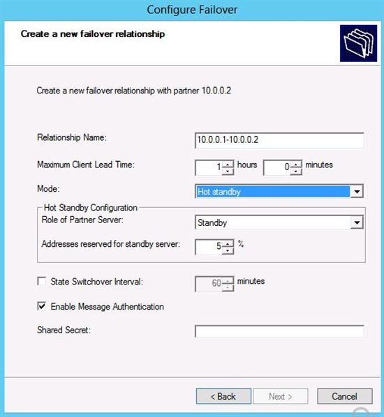 Choose your DHCP failover option: Hot Standby and load