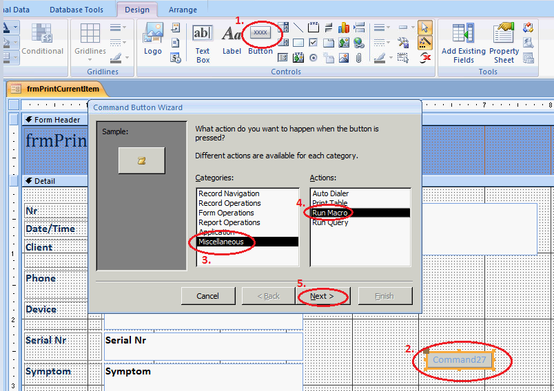 Modifying form in design view