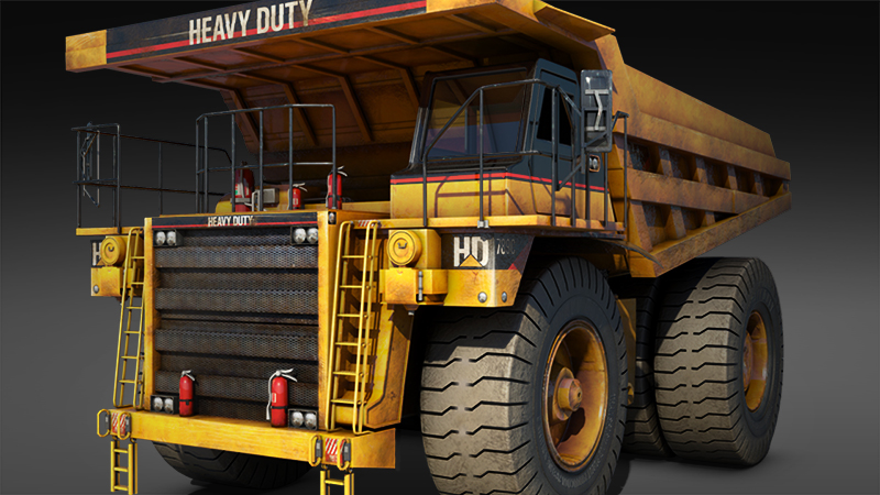 large yellow dirty dump truck 3d generated model