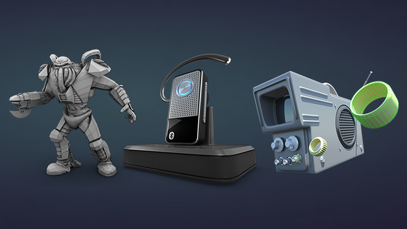 Various 3D computer generated items - game character, charging phone, and electronic device