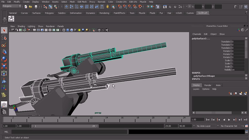 edge loops on 3d model of weapon