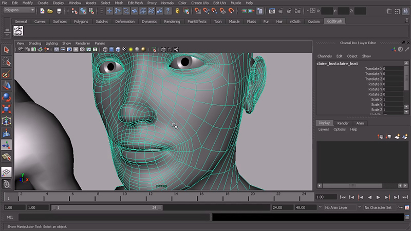 edge loops for mouth, nose, and eyes on 3d model of face
