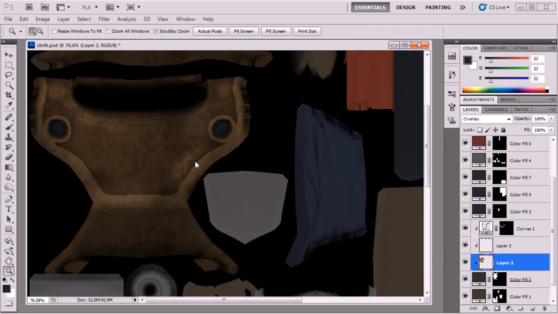 example of color palette to improve texture effects