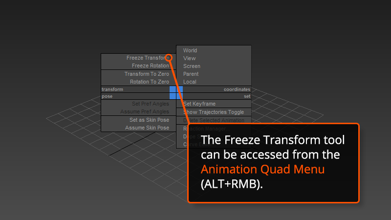 Freeze Transform tool in 3ds Max