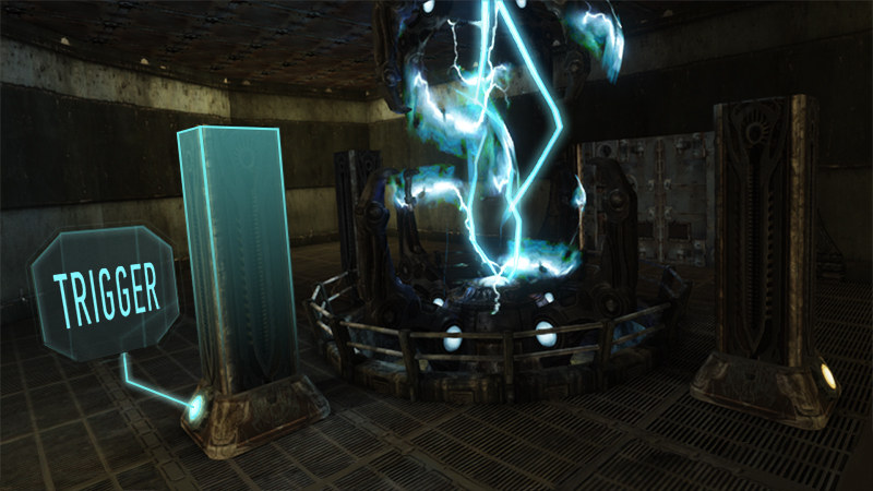 game design of cackling blue electricity in a portal