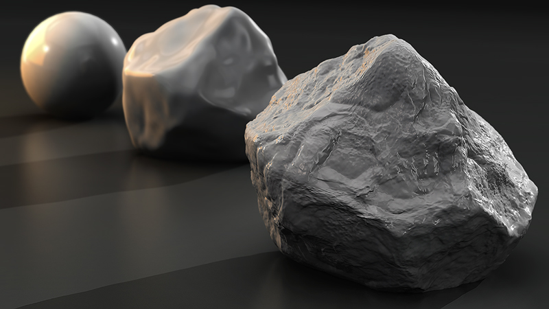 sculpting application 3d model of a rock