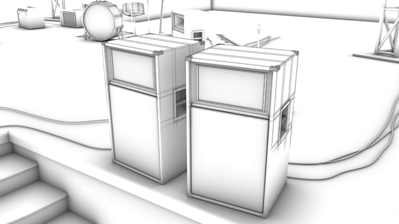 black and white 3d model of a stage