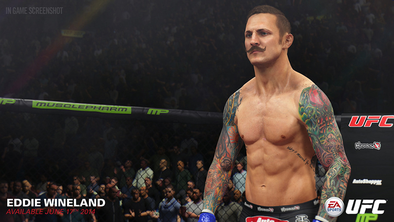 3D model of a UFC fighter with mustache and sleeve tattoos created in 3ds Max