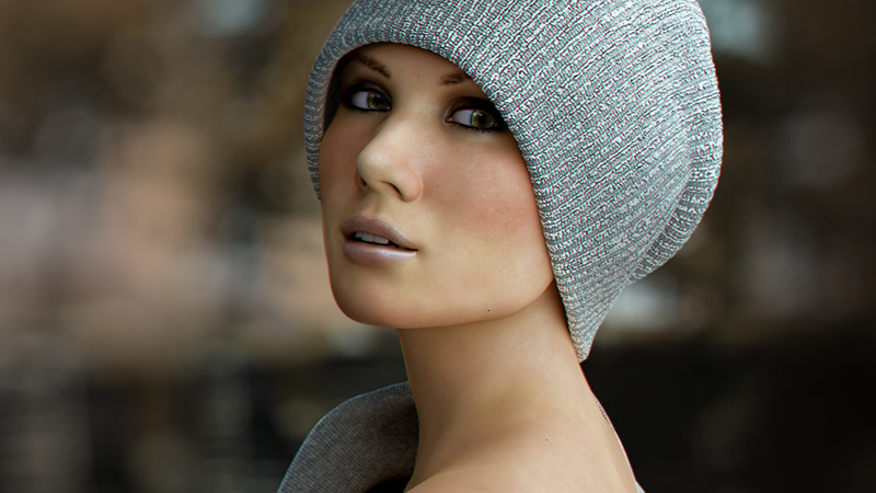 Rendered 3d image of a woman in a grey knit hat