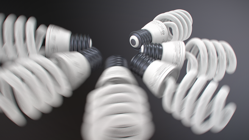 Light bulbs moving at a hight rate of speed causing heavy motion blur on the ones closest to the camera.