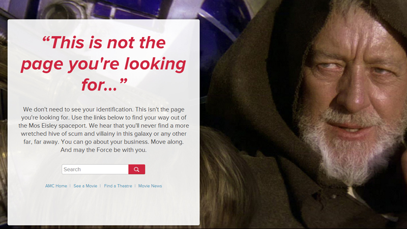AMC Theatres 404 error screenshot
