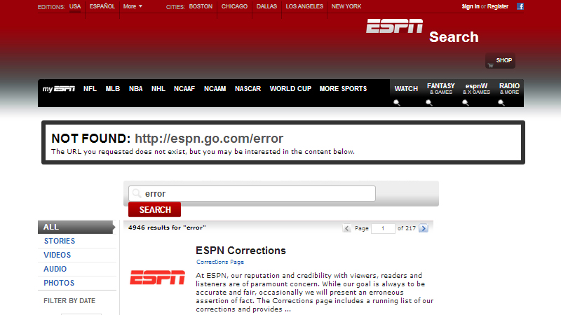 ESPN.com 404 error page screenshot